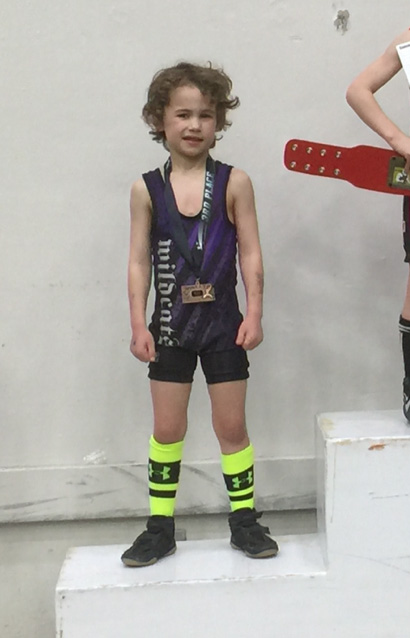 Lukas Britt captured third place at 45 pounds at the 6-and-under state wrestling tournament Sunday in Salina.