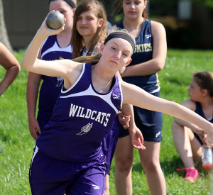 LMS seventh-grader Lauren Vincent releases the shot put during Tuesday's home meet against Baldwin and Trail Ridge