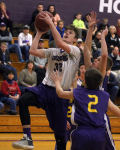 Louisburg's Madden Rutherford drives the lane for a shot during a home game earlier this season.