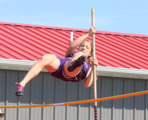 Sophomore Isabelle Holtzen vaults over the bar during the pole vault Thursday at the Anderson County Invitational. Holtzen won the event after she cleared 9-6.